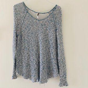 Free People crotchet blue oversize sweater,